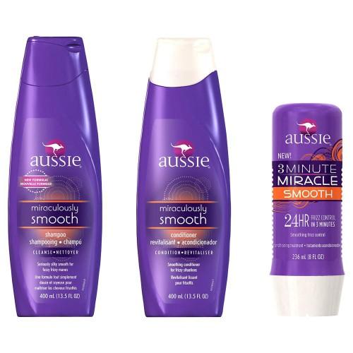 kit-aussie-smooth-shampoo-e-condicionador-para-cabelos-normais-400ml---tratamento-para-cabelos-normais-smooth-3-minutes-miracle-236ml